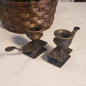 Rare pair of antique candle & matchbox holder